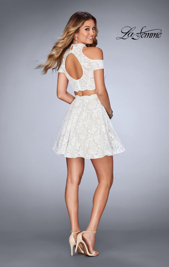 Picture of: Lace Two Piece Dress with Open Shoulders and Keyhole in White, Style: 25021, Detail Picture 5