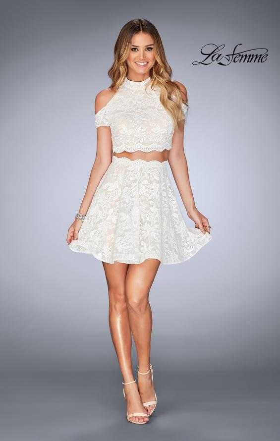Picture of: Lace Two Piece Dress with Open Shoulders and Keyhole in White, Style: 25021, Detail Picture 6