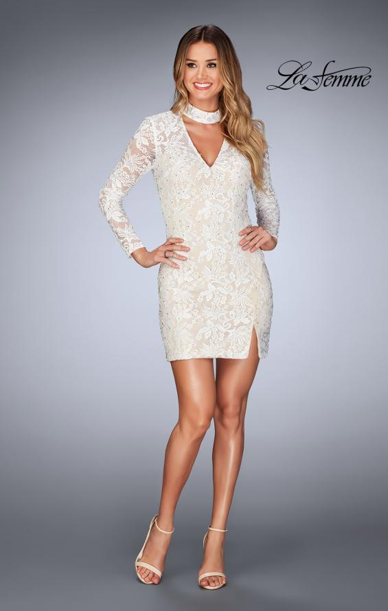 Picture of: Long Sleeve Short Lace Dress with Choker in White, Style: 25373, Detail Picture 6
