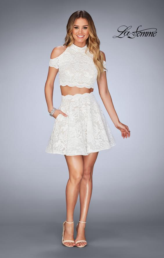 Picture of: Lace Two Piece Dress with Open Shoulders and Keyhole in White, Style: 25021, Detail Picture 7