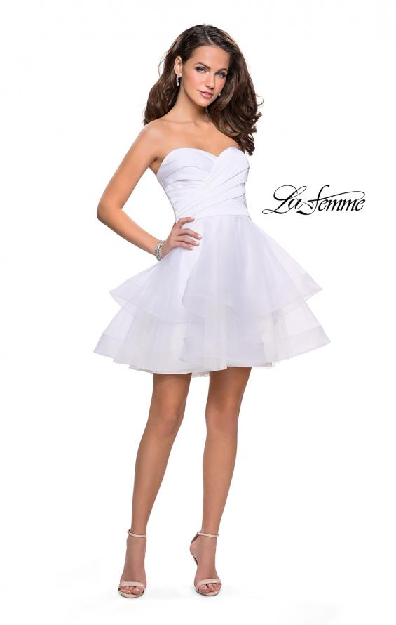 Picture of: Short Homecoming Dress with Tiered Tulle Skirt, Style: 26654, Detail Picture 7