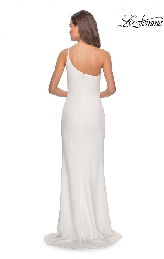 Picture of: One Shoulder Long Jersey Homecoming Dress in White, Style: 28176, Detail Picture 7