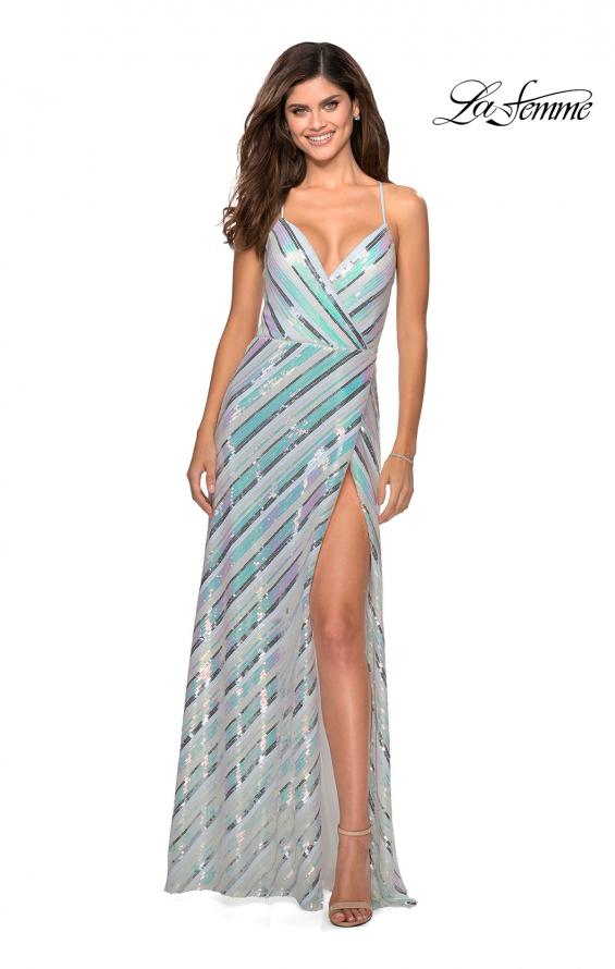Picture of: Multi-Colored Striped Sequin Faux Wrap Prom Dress in White, Style: 28717, Detail Picture 1