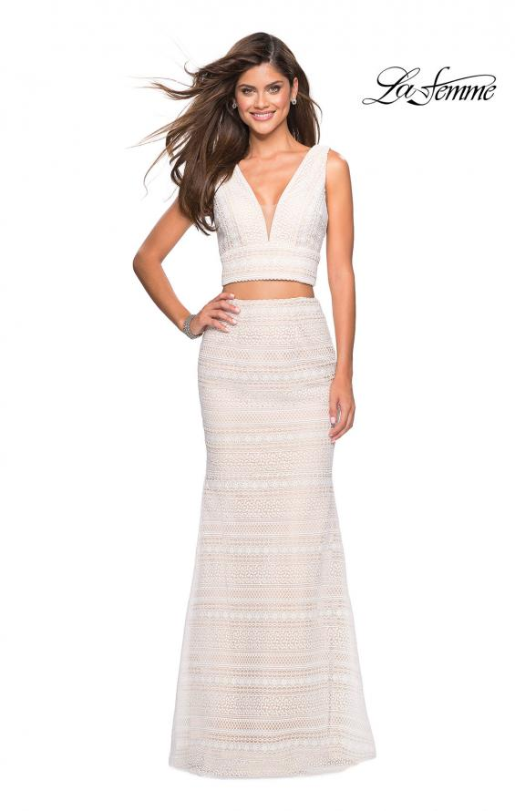 Picture of: Boho Inspired Lace Two Piece Long Prom Dress in White Nude, Style: 27189, Main Picture