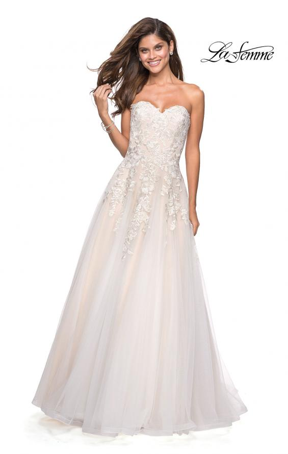 Picture of: Lace Bodice Tulle Prom Dress with Sweetheart Neckline in White Nude, Style: 27508, Main Picture
