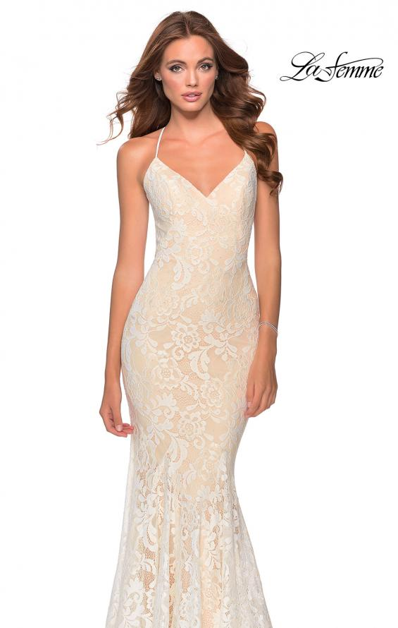 Picture of: Long Mermaid Lace Prom Dress with V Shaped Neckline in White/Nude, Style: 28504, Main Picture