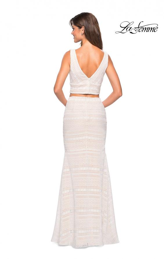 Picture of: Boho Inspired Lace Two Piece Long Prom Dress in White Nude, Style: 27189, Back Picture