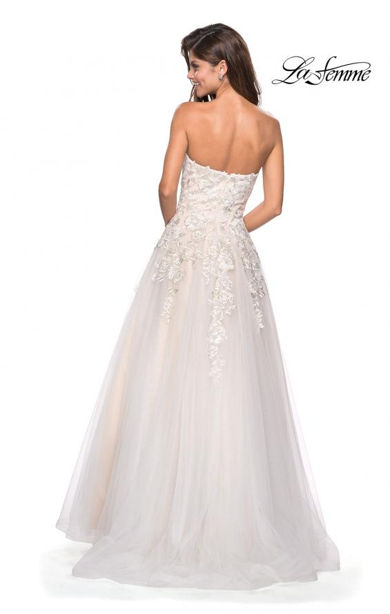 Picture of: Lace Bodice Tulle Prom Dress with Sweetheart Neckline in White Nude, Style: 27508, Back Picture