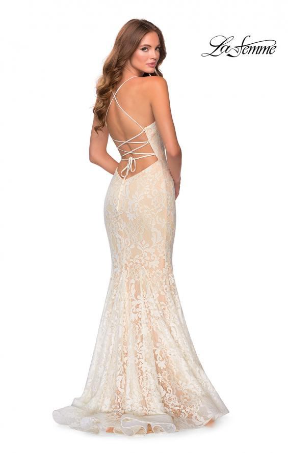 Picture of: Long Mermaid Lace Prom Dress with V Shaped Neckline in White/Nude, Style: 28504, Back Picture