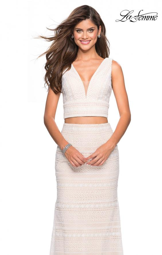 Picture of: Boho Inspired Lace Two Piece Long Prom Dress in White Nude, Style: 27189, Detail Picture 1