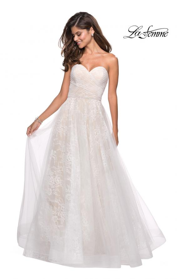 Picture of: Strapless Lace Ball Gown with Sweetheart Neckline in White Nude, Style: 27135, Detail Picture 2