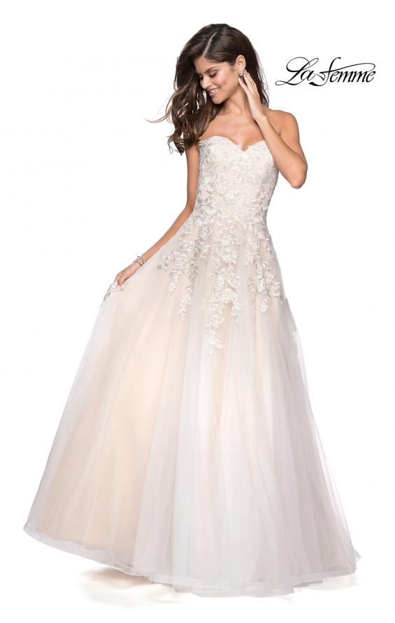 Picture of: Lace Bodice Tulle Prom Dress with Sweetheart Neckline in White Nude, Style: 27508, Detail Picture 2