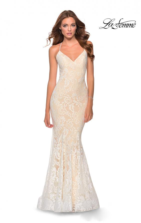 Picture of: Long Mermaid Lace Prom Dress with V Shaped Neckline in White/Nude, Style: 28504, Detail Picture 3