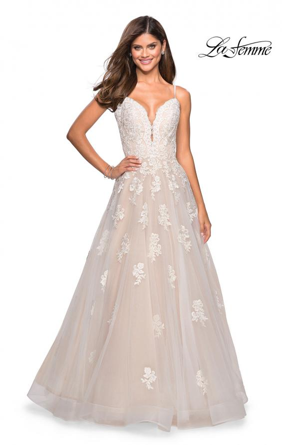 Picture of: Classic Prom Ball Gown with Lace Applique Details, Style: 27463, Detail Picture 4