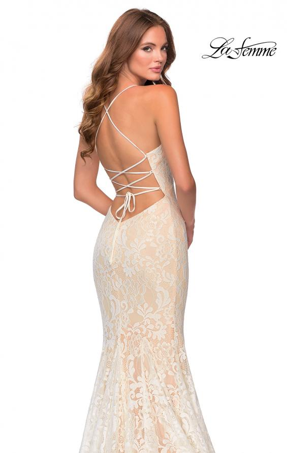 Picture of: Long Mermaid Lace Prom Dress with V Shaped Neckline in White/Nude, Style: 28504, Detail Picture 4