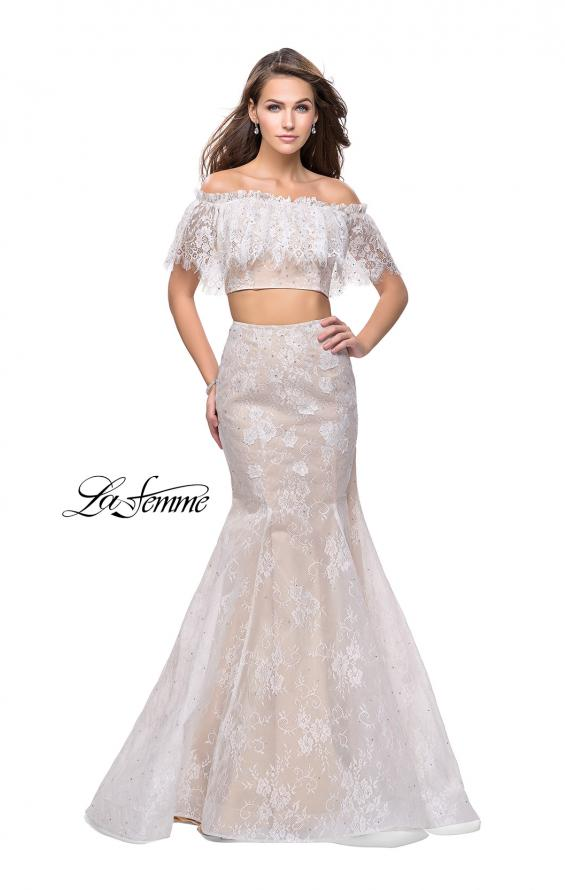Picture of: Two Piece Mermaid Style Gown with Off the Shoulder Top in White, Style: 25417, Main Picture