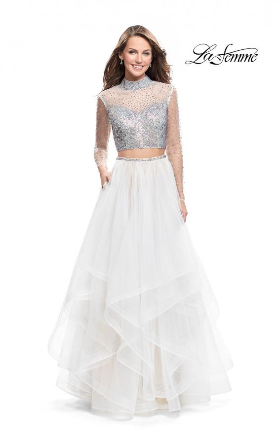 Picture of: Long Sleeve Two Piece Dress with Tulle Ruffle Skirt in White, Style: 25555, Main Picture