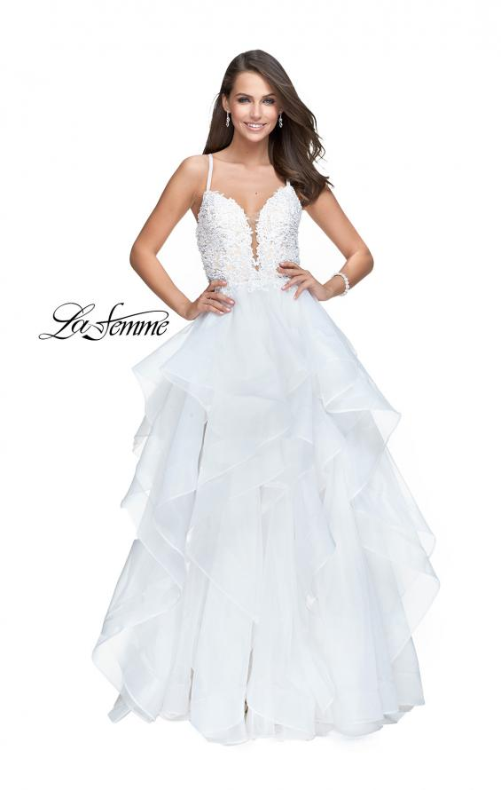 Picture of: Long Tulle Ball Gown with Ruffle Skirt and Lace Bodice in White, Style: 25928, Main Picture