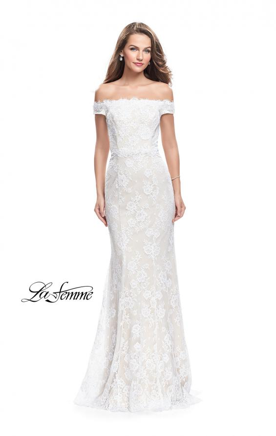 Picture of: Off the Shoulder Beaded Lace Gown with Ruffle Detail, Style: 26218, Main Picture