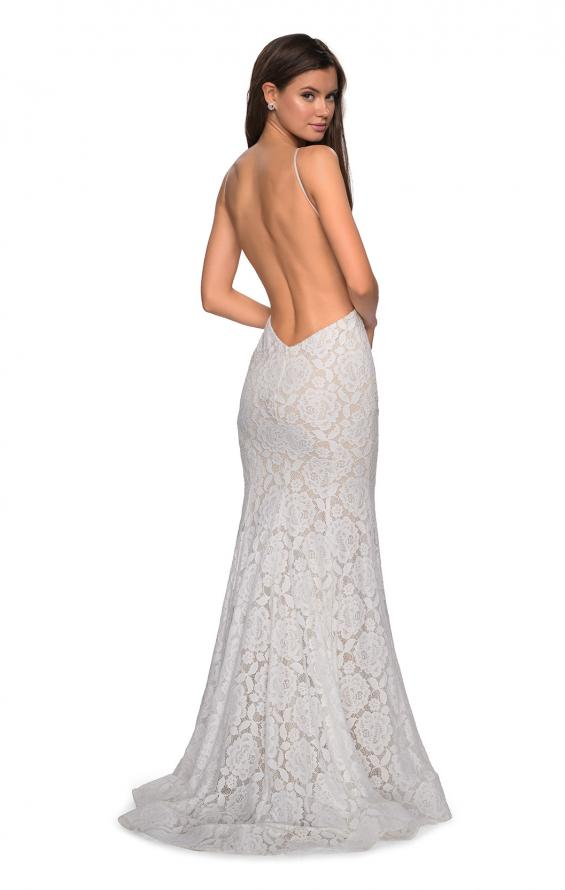 Picture of: Long Lace Prom Dress with High Neckline in White, Style: 27289, Main Picture
