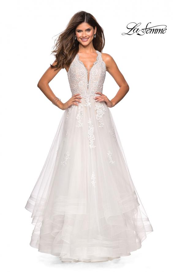 Picture of: Racer Back Lace Embellished Floor Length Ball Gown in White, Style: 27603, Main Picture