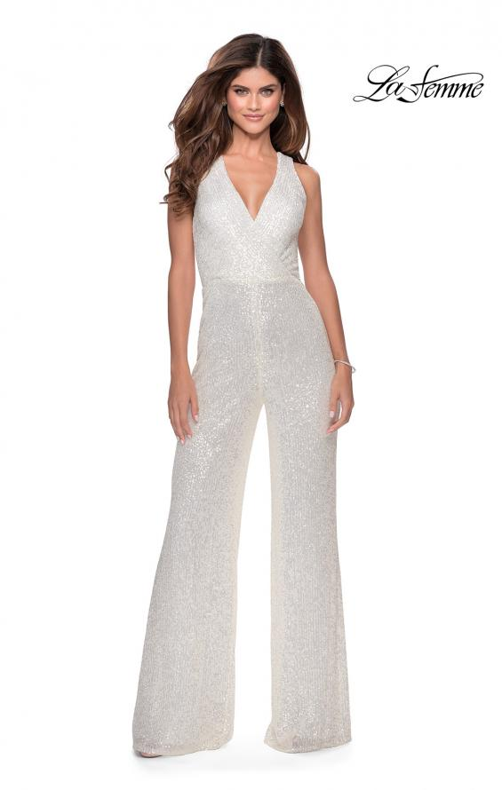 Picture of: Long Sequin Jumpsuit with Criss Cross Back in White, Style: 28719, Main Picture