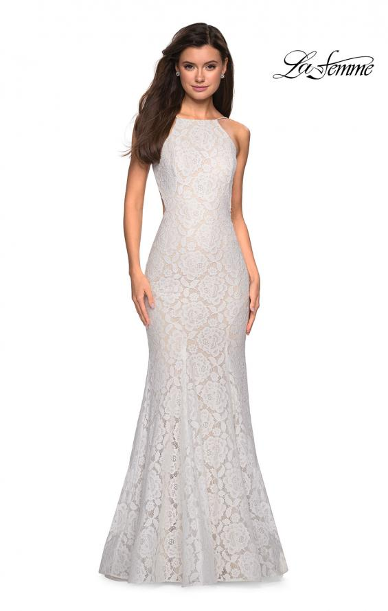 Picture of: Long Lace Prom Dress with High Neckline in White, Style: 27289, Detail Picture 8