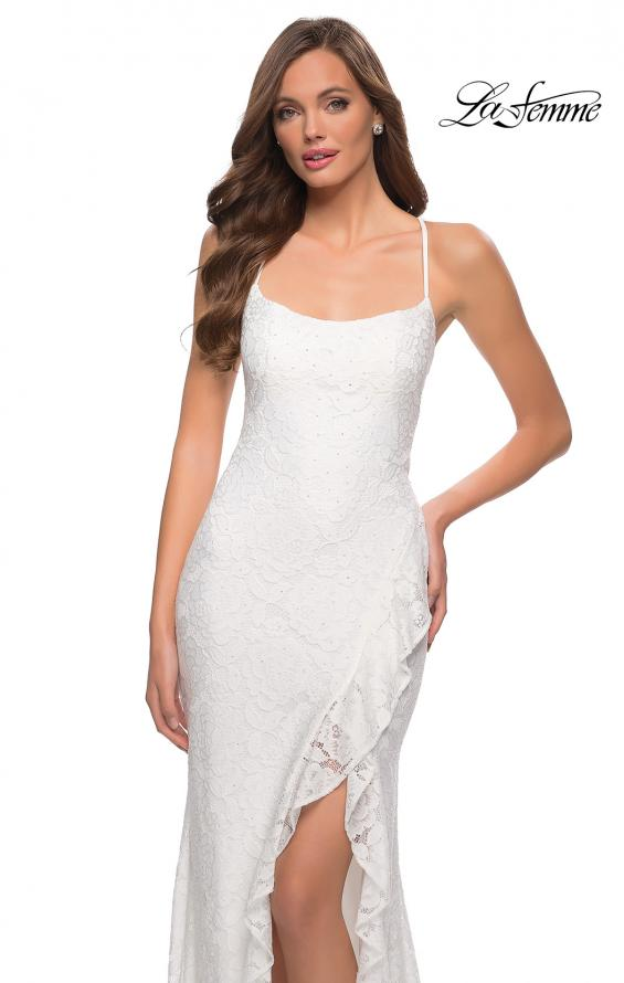 Picture of: Stretch Lace Dress with Ruffle Skirt Detail and Slit in White, Style 29650, Detail Picture 8