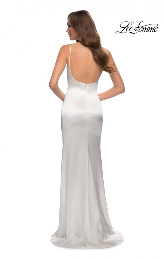 Picture of: Fitted Stretch Satin Dress with Scoop Back in White, Style 29945, Detail Picture 8