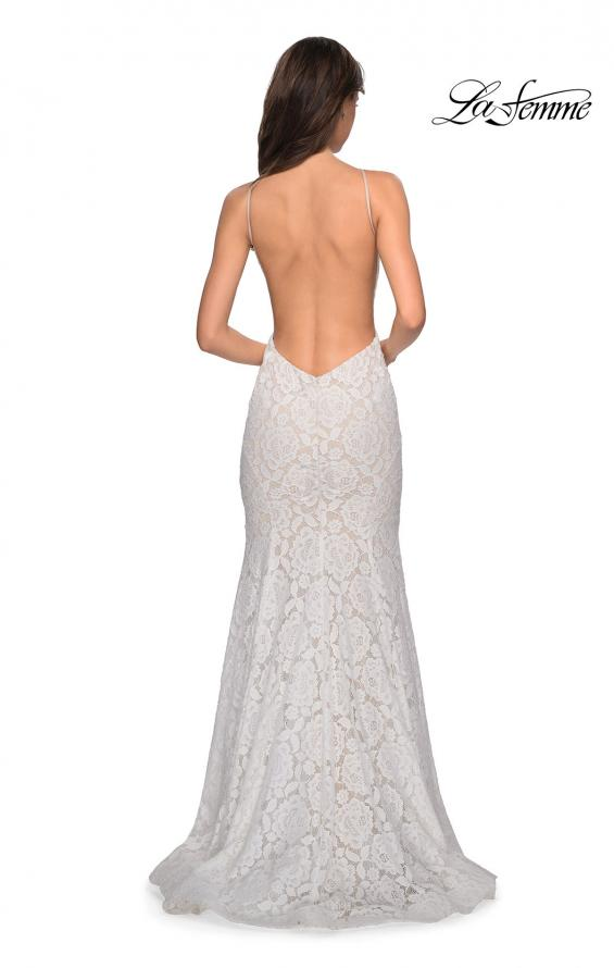 Picture of: Long Lace Prom Dress with High Neckline in White, Style: 27289, Detail Picture 9