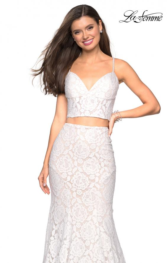 Picture of: Lace Two Piece Gown with Rhinestone Accents, Style: 27589, Detail Picture 9