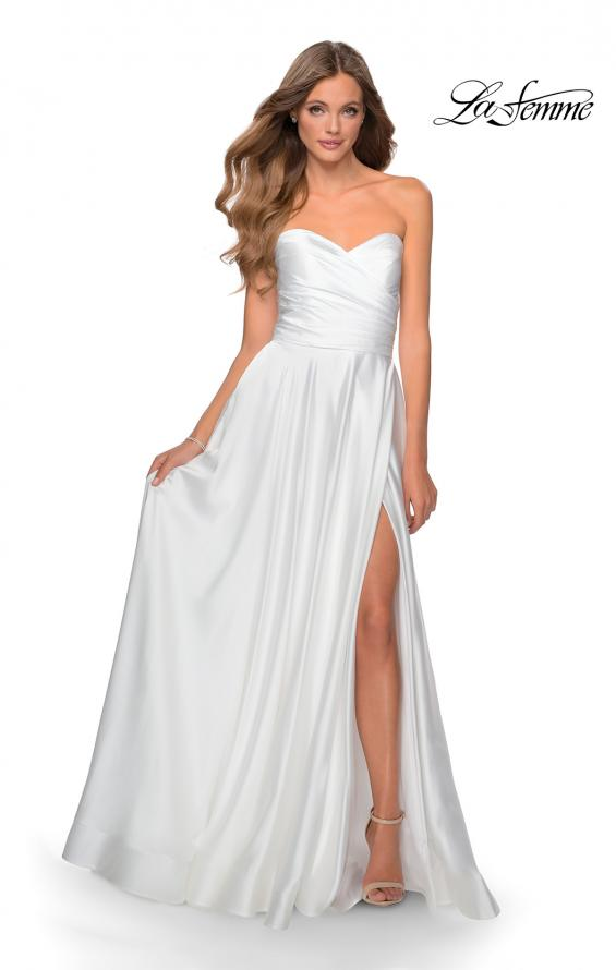 Picture of: Strapless Satin Gown with Pleated Bodice and Slit in White, Style: 28608, Detail Picture 9