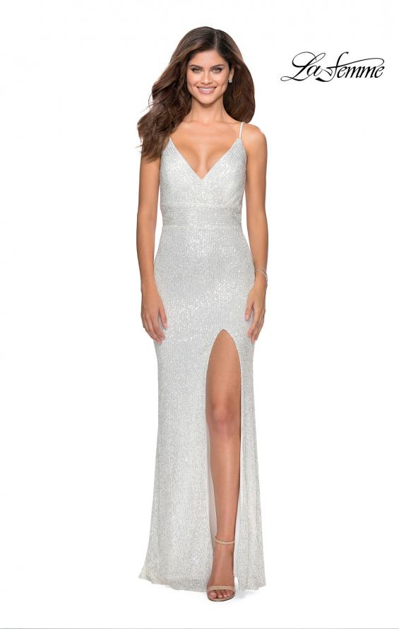 Picture of: Form Fitting Sequin Dress with Cut Out Open Back in White, Style: 28616, Detail Picture 9