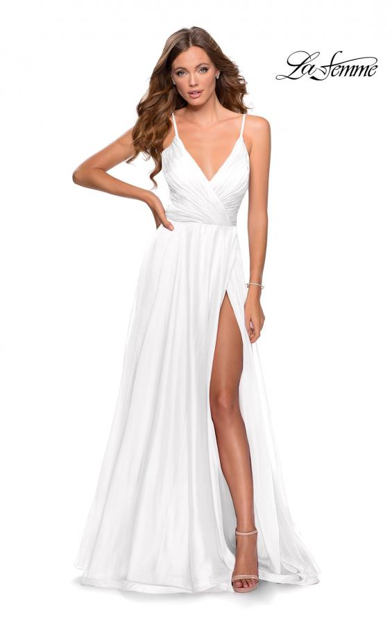 Picture of: Chiffon Prom Dress with Pleated Bodice and Pockets in White, Style: 28611, Detail Picture 10