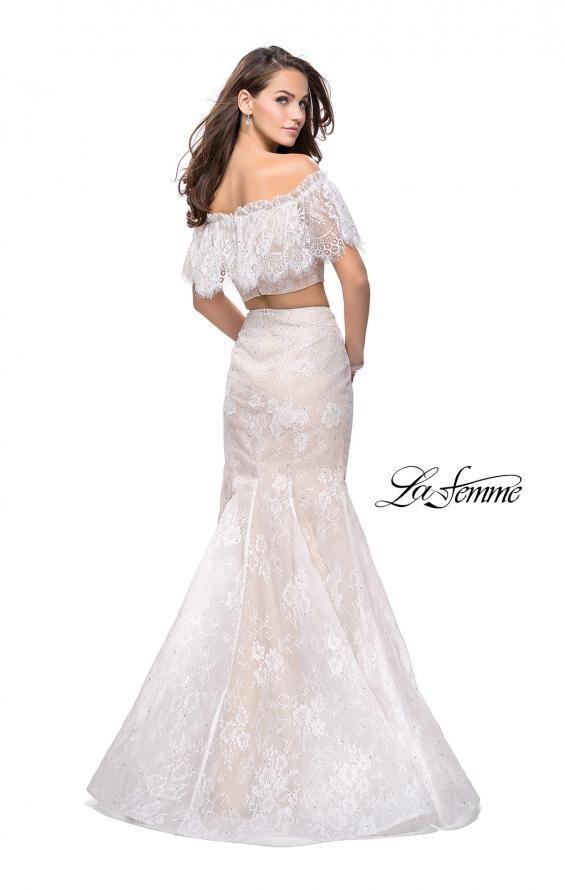 Picture of: Two Piece Mermaid Style Gown with Off the Shoulder Top in White, Style: 25417, Back Picture