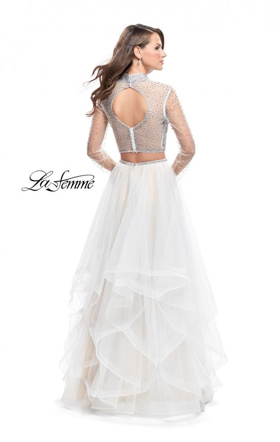 Picture of: Long Sleeve Two Piece Dress with Tulle Ruffle Skirt in White, Style: 25555, Back Picture