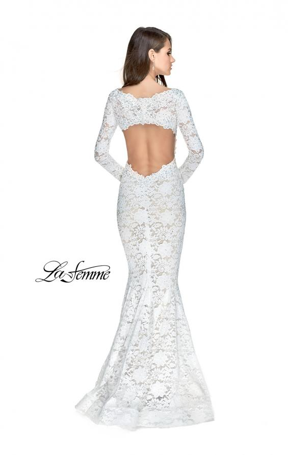 Picture of: Long Sleeve Lace Mermaid Prom Dress with Metallic Beads, Style: 25607, Back Picture