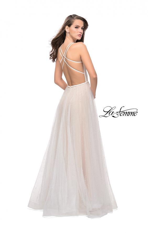 Picture of: A-line Prom Dress with Pearl Beading and a Tulle Skirt in White, Style: 25630, Back Picture