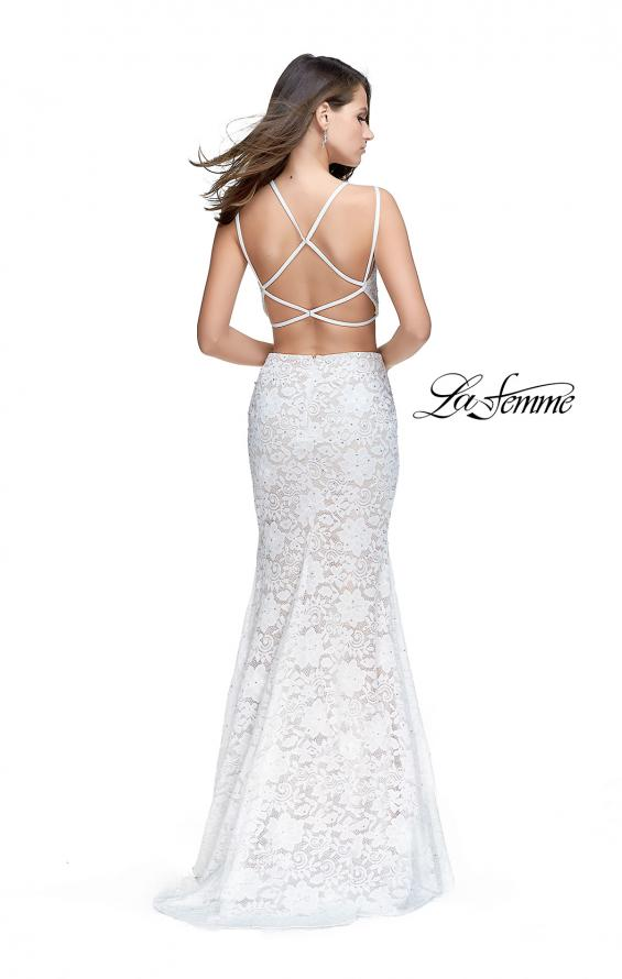 Picture of: Two Piece Mermaid Dress with Beading and Lace in White, Style: 25771, Back Picture