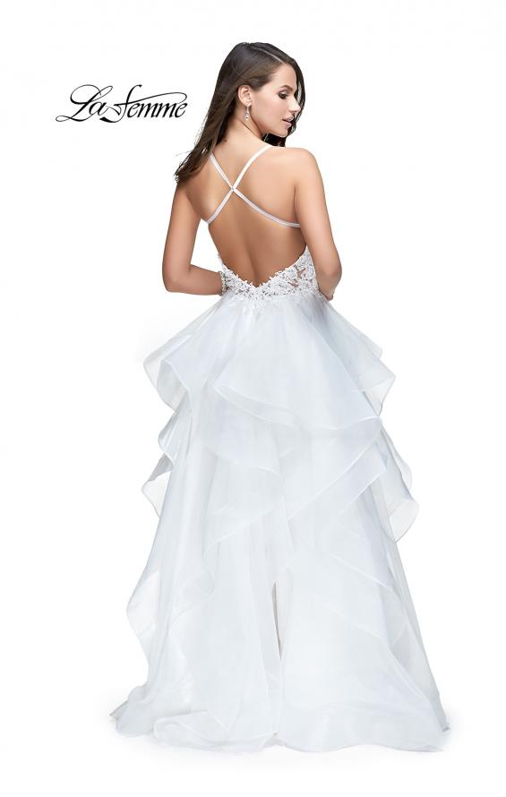 Picture of: Long Tulle Ball Gown with Ruffle Skirt and Lace Bodice in White, Style: 25928, Back Picture
