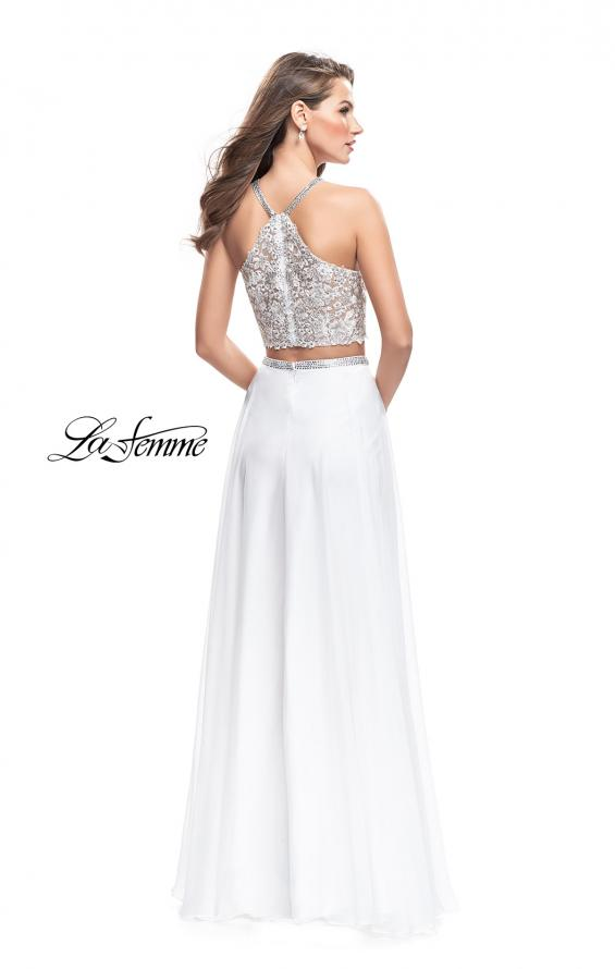 Picture of: Two Piece Dress with Chiffon Skirt and Lace Top in White, Style: 26288, Back Picture