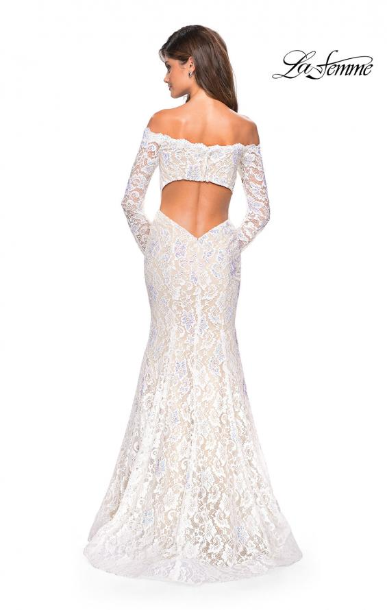 Picture of: Off the Shoulder Long Sleeve Lace Prom Gown, Style: 26393, Back Picture