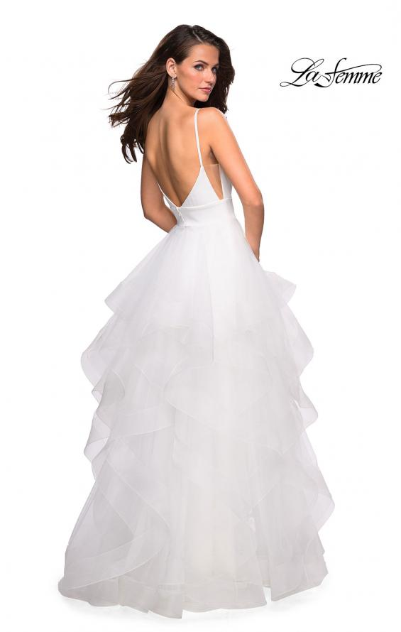 Picture of: Tulle A Line Dress with Plunging Sweetheart Neckline in White, Style: 27024, Back Picture