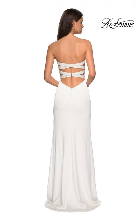 Picture of: Simple Strapless Prom Dress with Double Strap Back in White, Style: 27035, Back Picture