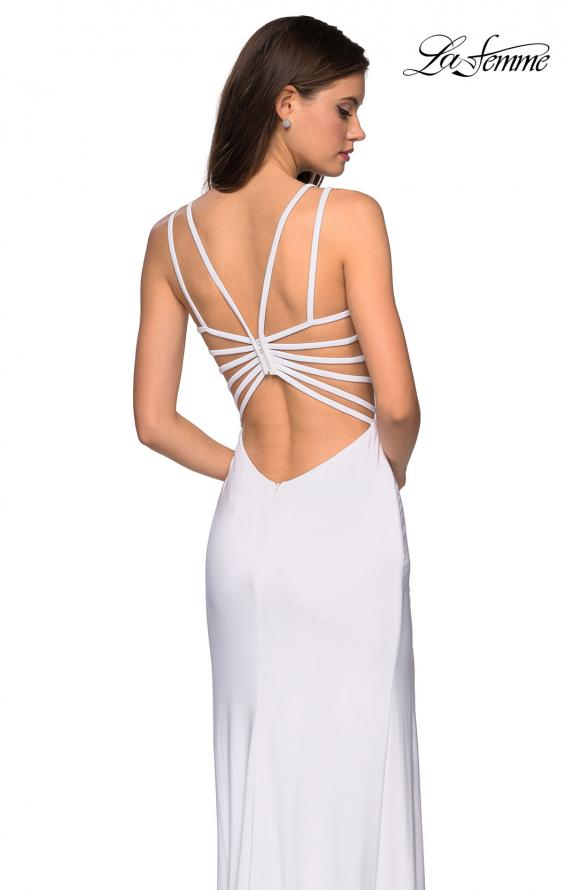 Picture of: Sultry Long Dress with Intricate Strappy Back in White, Style: 27072, Back Picture