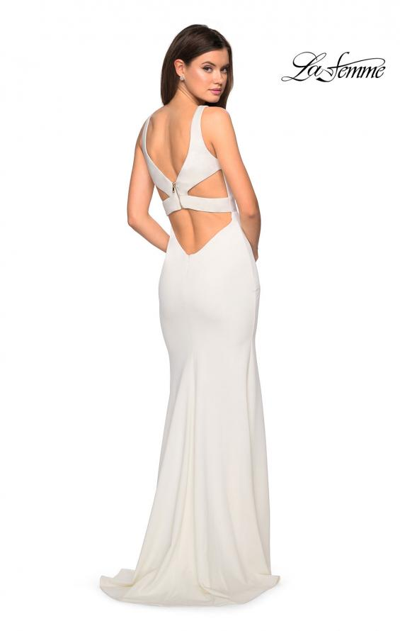 Picture of: Long Jersey Prom Dress with Cut Out Back Detail in White, Style: 27181, Back Picture