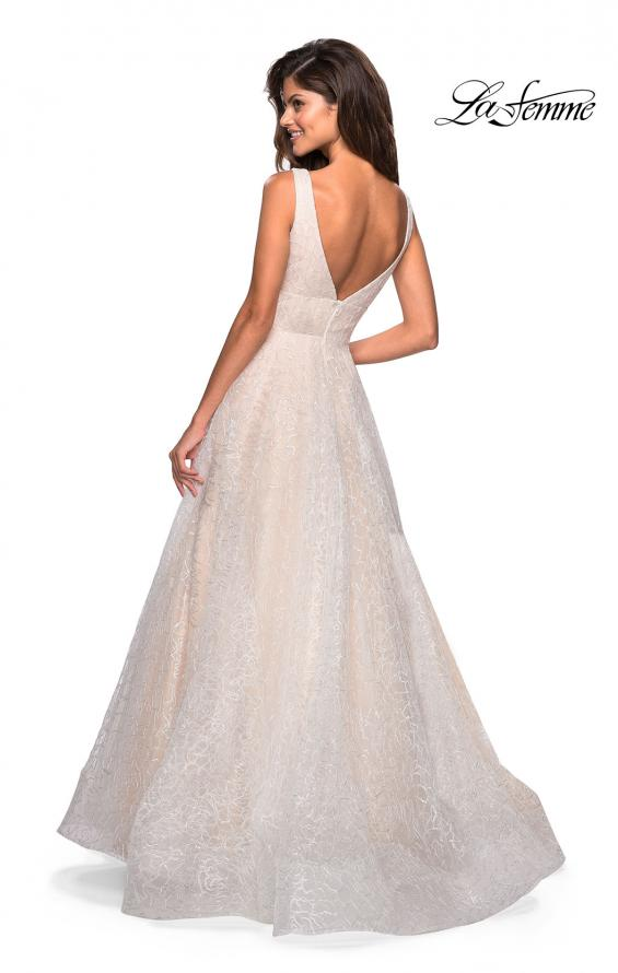 Picture of: Sequin Print Ball Gown with Deep V and Pockets in White, Style: 27323, Back Picture