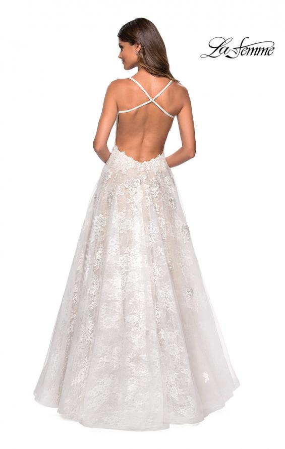 Picture of: Floor Length Lace Dress with Criss Cross Open Back in White, Style: 27448, Back Picture