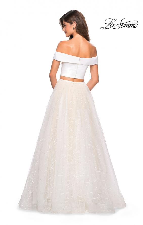 Picture of: Off the Shoulder Two Piece Dress with Textured Skirt, Style: 27478, Back Picture