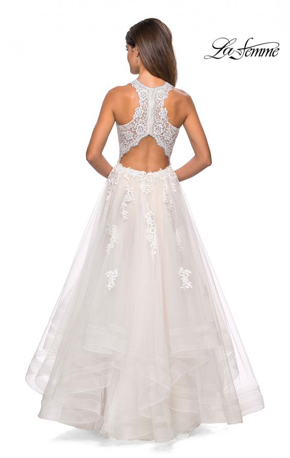 Picture of: Racer Back Lace Embellished Floor Length Ball Gown in White, Style: 27603, Back Picture